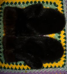 fur handmade glovers, recycling from old fur hat.  By Olga Anohina
