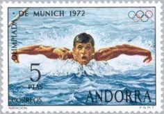 Sello: Swimming (Andorra (Administración Española)) (Summer Olympics 1972, Munich) Mi:AD-ES 77,Sn:AD-ES 68,Yt:AD-ES 70,Edi:AD-ES 78