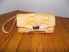 Orange Floral, Polka dot Necessary Clutch Wallet; NCW; Ready to ship by AZinnCreativeStitch on Etsy