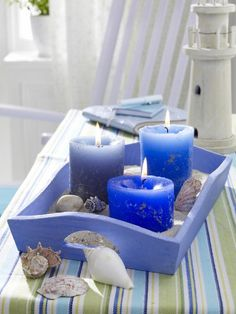 fill the tray with sand and shells decorate around it... love the blue candles