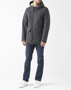 Grey Sherpa-Lined Cotton Victor Parka  M.STUDIO
