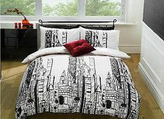 city skyline bedspreads | ... -City-Buildings-Double-Duvet-Bed-Set-Skyscrapers-Skyline-Bedding-USA