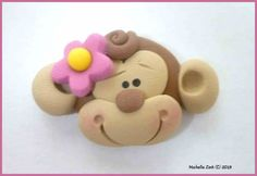 Polymer Clay Bead or Bow Center Monkey Face by michellesclaybeads