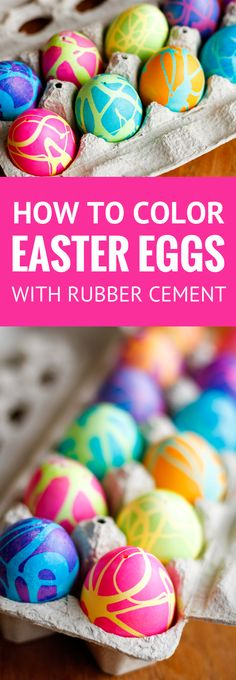 Coloring Easter Eggs w/ Rubber Cement -- dyeing Easter eggs with gel food coloring and this rubber cement technique produces some spectacularly high contrast, gorgeous abstract designs! Use it on blown-out eggs to preserve these cool Easter Eggs for years to come...   how do you dye easter eggs   how to dye eggs with food coloring   easter eggs coloring ideas   find the tutorial on unsophisticook.com