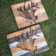 Rustic Elk Silhouette Wood Wall Art by Bayocean Rustic Design Metal Tree Wall Art, Wooden Wall Art, Diy Wall Art, Wood Wall, Pallet Crafts, Diy Wood Projects, Wood Crafts, Woodworking Projects, Custom Woodworking