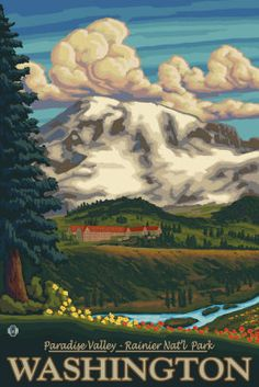 Mount Rainier National Park Paradise Inn Poster Digital at ArtistRising.com