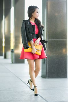 Sweet Surprise :: Pink flare dress & Louboutin spikes : Wendy's Lookbook, leather jacket
