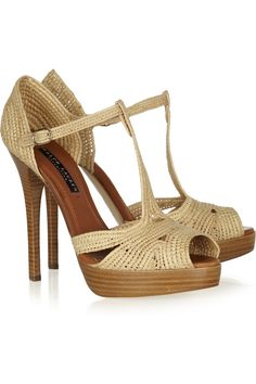 Jedina raffia and leather sandals by Ralph Lauren Collection