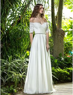 A-line Off-the-shoulder Floor-length Chiffon Wedding Dress (722143) – GBP £ 109.49