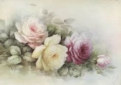 China Painting, Love Painting, Vintage Cards, Vintage Images, Floral Printables, Colorful Drawings, Pics Art, Vintage Flowers, Watercolor Flowers