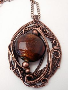 Copper Wire Wrapped Pendant Necklace, Handmade Jewelry on Etsy, $55.00