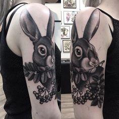 Bunny tattoo by Tuula Aikioniemi: pupu! aina kiva tehdä pupuja  #rabbittattoo done at #44tattoo #jyväskylä