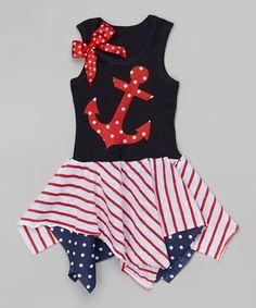 Red Dot Anchor Handkerchief Dress - Infant, Toddler & Girls by Beary Basics #zulily #zulilyfinds