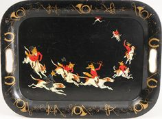 Tally Ho! ~ vintage tole serving tray. Perfect for a hosting a hunt breakfast and tea.
