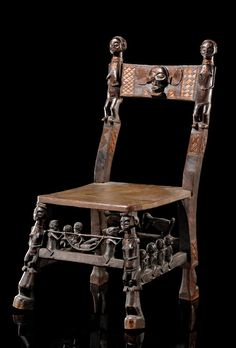 Africa   Chair from the Chokwe people of DR Congo   Light brown wood, dark brown, partly shiny patina