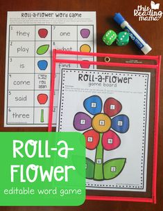 Editable Spring Word Game – Roll a Flower! A fun flower activity for spring literacy centers with kindergarten and first grade kids! Word Study Activities, Literacy Games, Spring Activities, Literacy Centers, Abc Games, Word Games For Kids, Sight Word Games, Kindergarten Reading, Kindergarten Activities