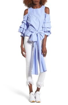 ec5f206ad37832 Blue Ruffle Sleeve Tie Front Top + White Skinny Jeans - great spring casual  outfit or