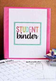 Great for back to school - Student Binder - Includes FREE printables! www.thirtyhandmadedays.com