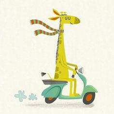 giraffe on a moped/ michael robertson Giraffe Illustration, Children's Book Illustration, Photographie Portrait Inspiration, Cute Art, Whimsical, Artsy, Cartoon, Drawings, Artwork