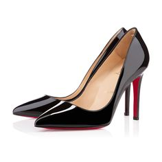 """Named after one of his favorite neighborhoods in Paris, """"Pigalle"""" is one of Monsieur Louboutin's most iconic styles. With her fine stiletto heel and pointed toe, she is a stunning look for business and pleasure alike. This 100mm version in black patent leather will keep you comfortably on your feet from rendezvous to rendezvous."""