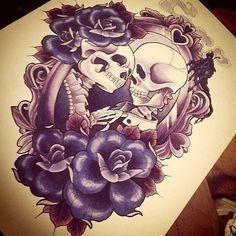 Tattoos, skull thigh tattoos, tattoo drawings, future tattoos, new tattoos Kunst Tattoos, Paar Tattoos, Tattoos Skull, Tattoo Drawings, Body Art Tattoos, Skeleton Couple Tattoo, Couple Tattoos, Love Tattoos, Beautiful Tattoos
