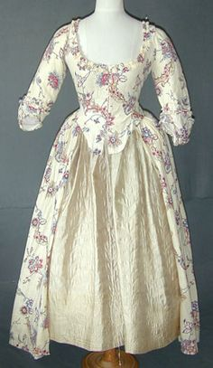 This was on Meg Andrews' site and is a printed cotton gown from around 1780.