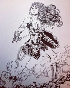 Inks on Diana almost done. Now for the background. #wonderwoman #dccomics