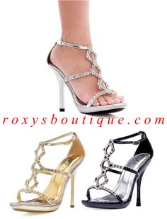 "Strappy sandals with rhinestones, ankle strap, 1/4"" platform and 4"" stiletto heels - Brand: Ellie Shoes - 431-Cascade - $65.25"