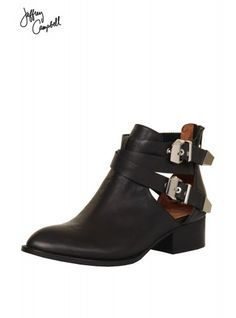 Jeffrey Campbell Everly Cutout Ankle Boot In Black
