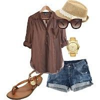 Brown top. This outfit would be perfect minus the hat. can't stand those ridiculous hats.