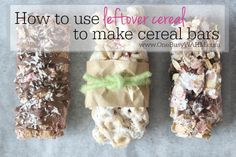 Make your own cereal bars and use up those leftover cereal boxes. Cereal bars are a great breakfast on-the-go or quick snack even the kids will enjoy.