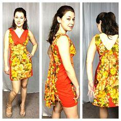 $19.99 Vintage 70s Hawaiian togs barkcloth bright floral orange draped back mini dress #Dresses