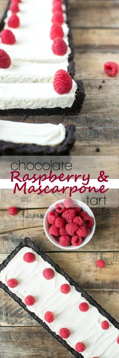 A dark chocolate cookie crust filled with whipped mascarpone and topped with raspberries. Perfect for Valentine's Day!