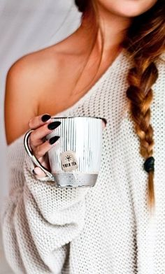 relaxing in an off shoulder knit and a big mug of tea