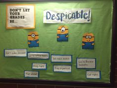 """don't let your grades be """"despicable! Ra Themes, University Of Pittsburgh, Res Life, Door Decs, Study Hard, Staying Organized, Freshman, Bulletin Boards"""