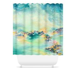 SEA TO SKY 2 Pastel Aqua Turquoise Teal Colorful Shower Curtain by EbiEmporium, #showercurtain #shower #bathroom #homedecor #pastel #girly #beach #coastal #colorful #moderndecor #ebiemporium