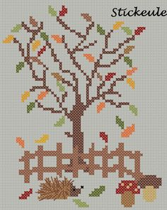 Autumn cross stitch freebie via Stickeule