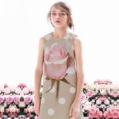 Monnalisa Chic Neoprene Rose Dress | CHILDRENSALON