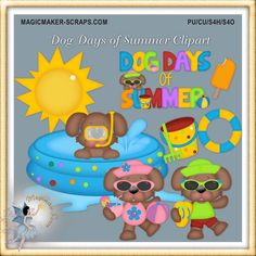 Summer Dog Card Supplies Commercial Use by MagicmakerScraps,