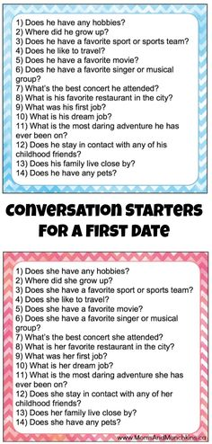 If you tend to get nervous on first dates, here is a list of conversation starters for a first date that will help keep the conversation flowing. Includes free printables! Great for a Valentine's Day date to get to know each other better.