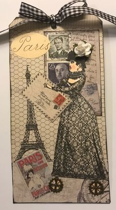 """Postage Stamp"" swap tag made with stamps designed by Catherine Moore for Character Constructions. Paris Cards, Paper Art, Paper Crafts, Inspiration Cards, Paper Puppets, Postage Stamp Art, Atc Cards, Vintage Paper Dolls, Tag Art"