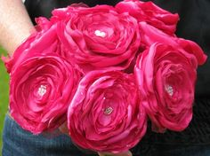 HOT PINK SATIN AND TULLE ROSES BOUQUET by Jillianns from Jilliann's Shop on Etsy ($115)