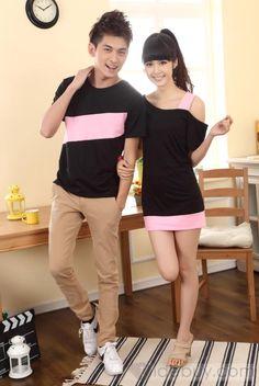 高品質韓国風半袖カップル服