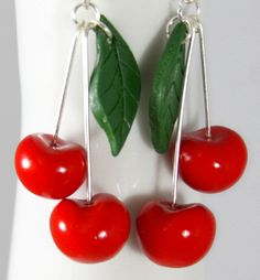 Cherry earrings from polymer clay