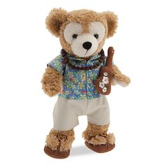 [Aloha Bear]Your own 17'' Duffy will tour the tropics in this retro-print Aloha shirt with coordinating shorts, soft sandals, necklace, and embroidered ukulele. It's a sunny costume souvenir of Aulani, A Disney Resort & Spa.