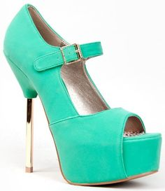 Redefine the classic Mary Jane pump with a squared metal heel and coquettish peeptoe opening.Pumps have a covered platform sole and adjustable Ma ...
