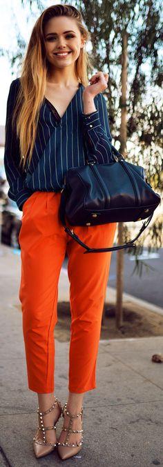 Romwe Beaded Tasseled Belt Orange Slim Pants by Kayture