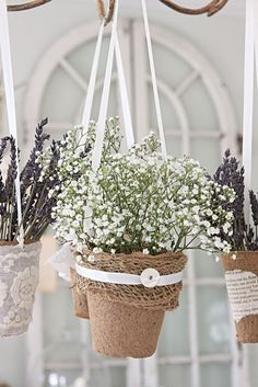 so simple - decorated peat pots - babys breath