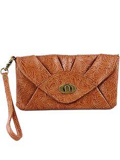 Orange Vintage Floral Envelope Clutch Bag 15.97