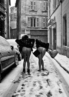 LISTEN UP GIRLS... On snowy days always wear underwear to keep mr frost at bay, PLUS you never know when you're gonna hit a patch of ice and end up on your butt with your skirt over your head.